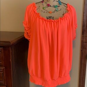 Women's Blouse-Neon coral/tangerine color NWT.